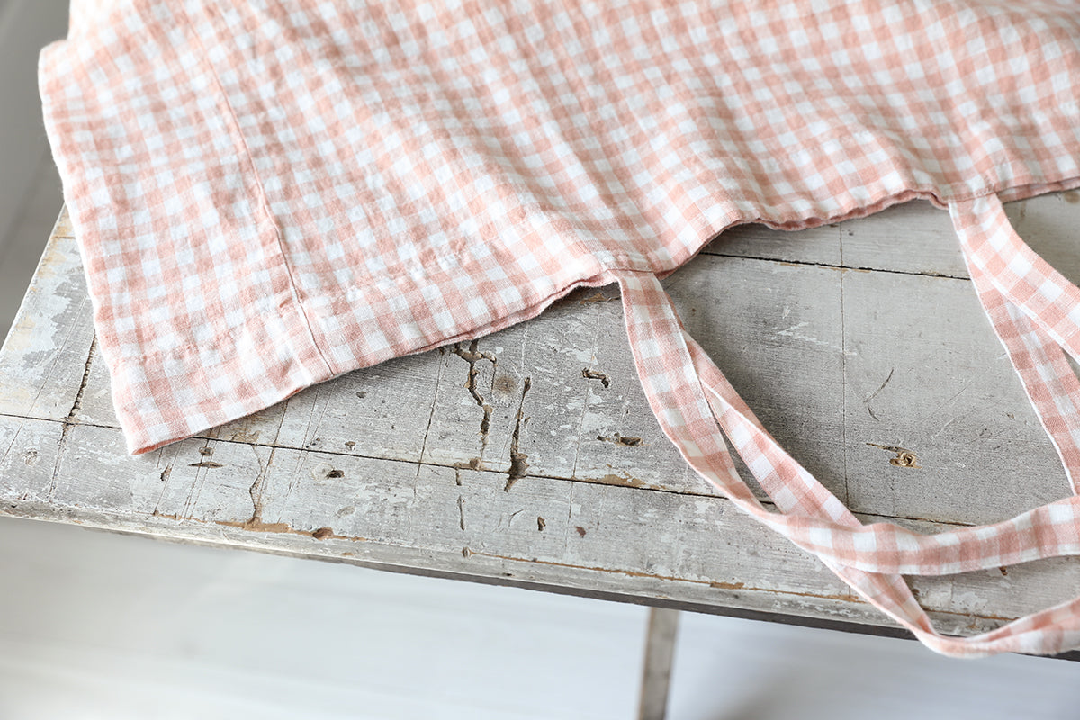 Copper Gingham Linen Bag