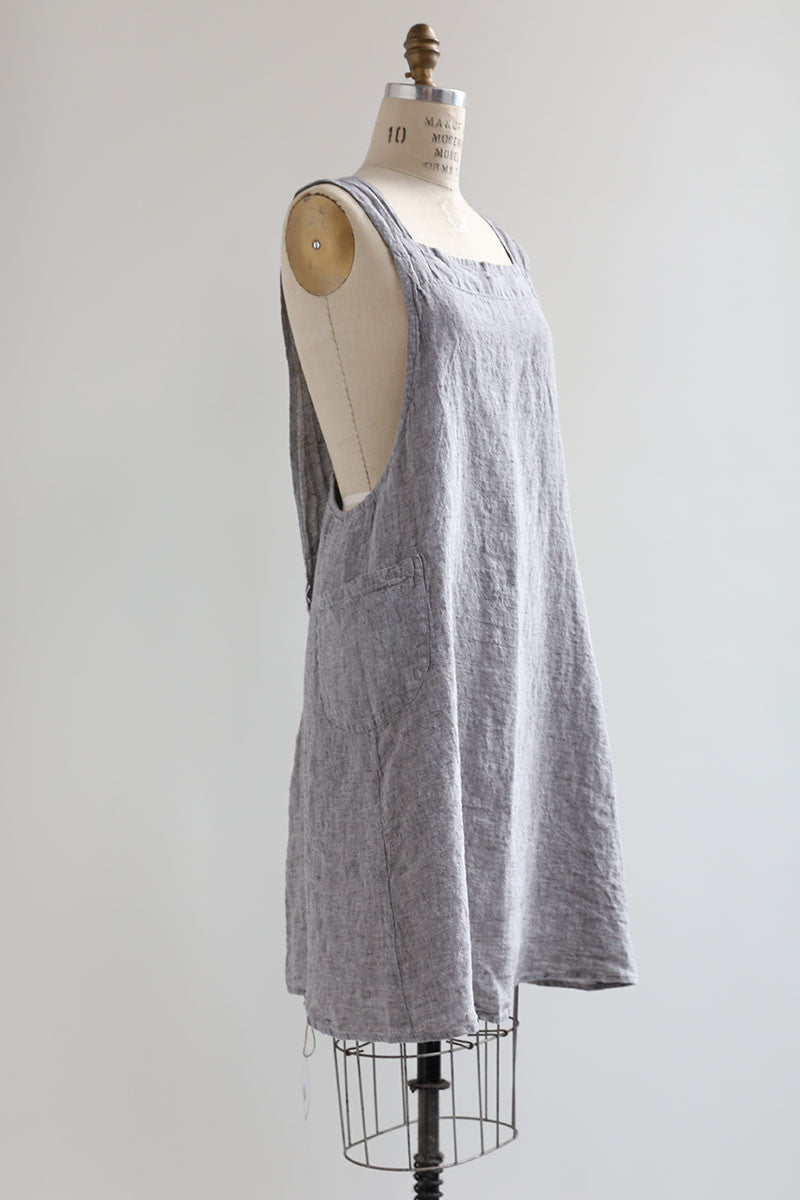Grey Chambray Linen Apron