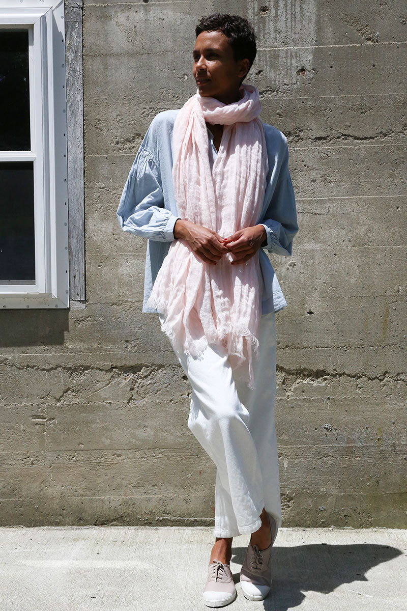 Light Pink Gauze Linen Scarf