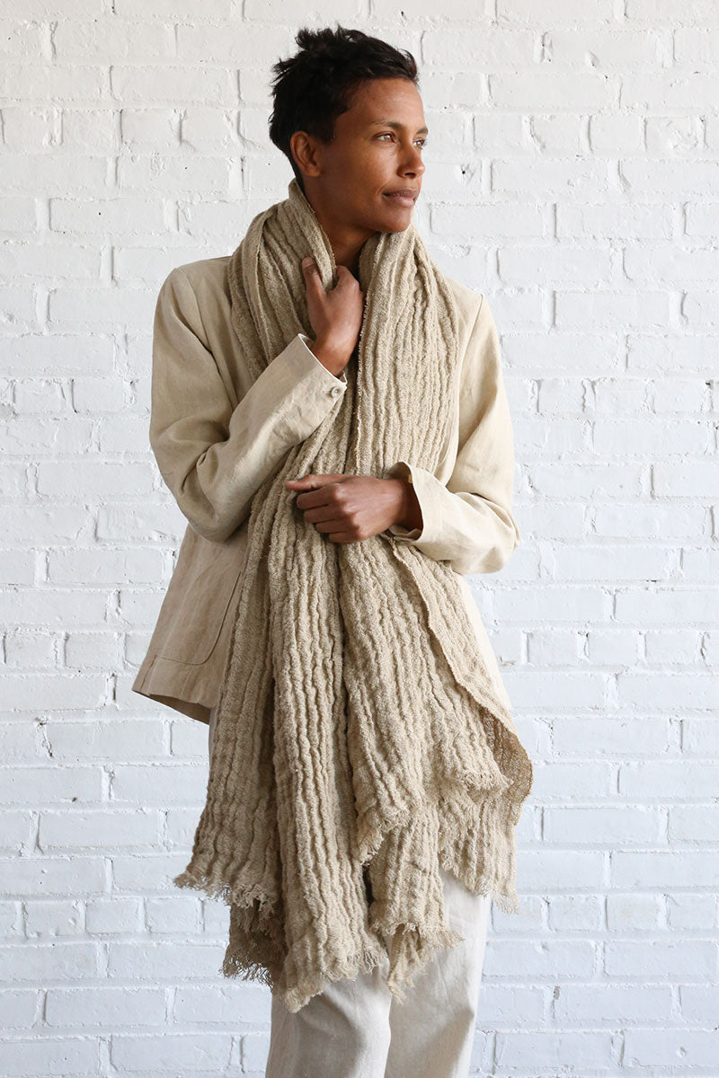 Rustic Natural Linen Scarf