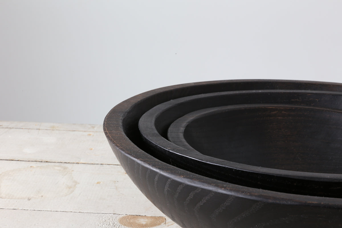 Black Ebonized Round Bowl 15""