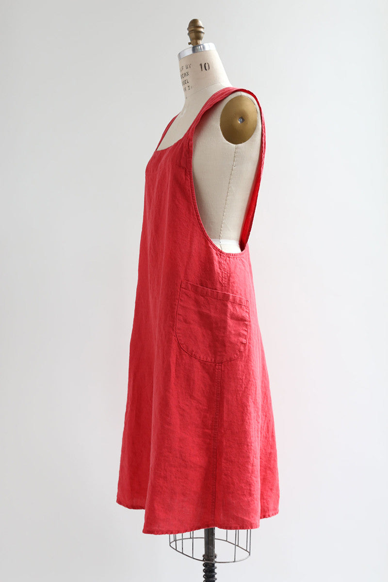 Red Linen Apron