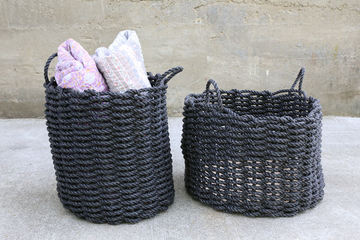Charcoal Tall Rope Basket