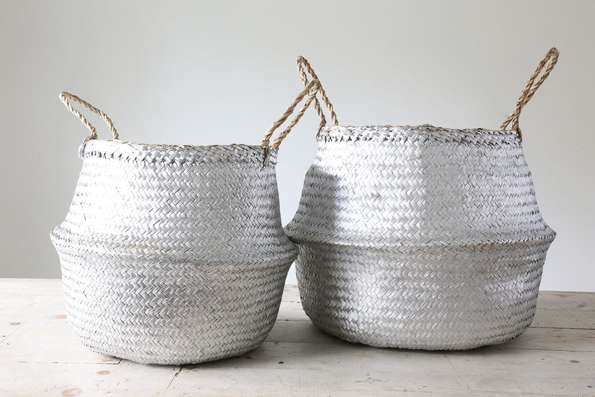 Medium Silver Woven Basket