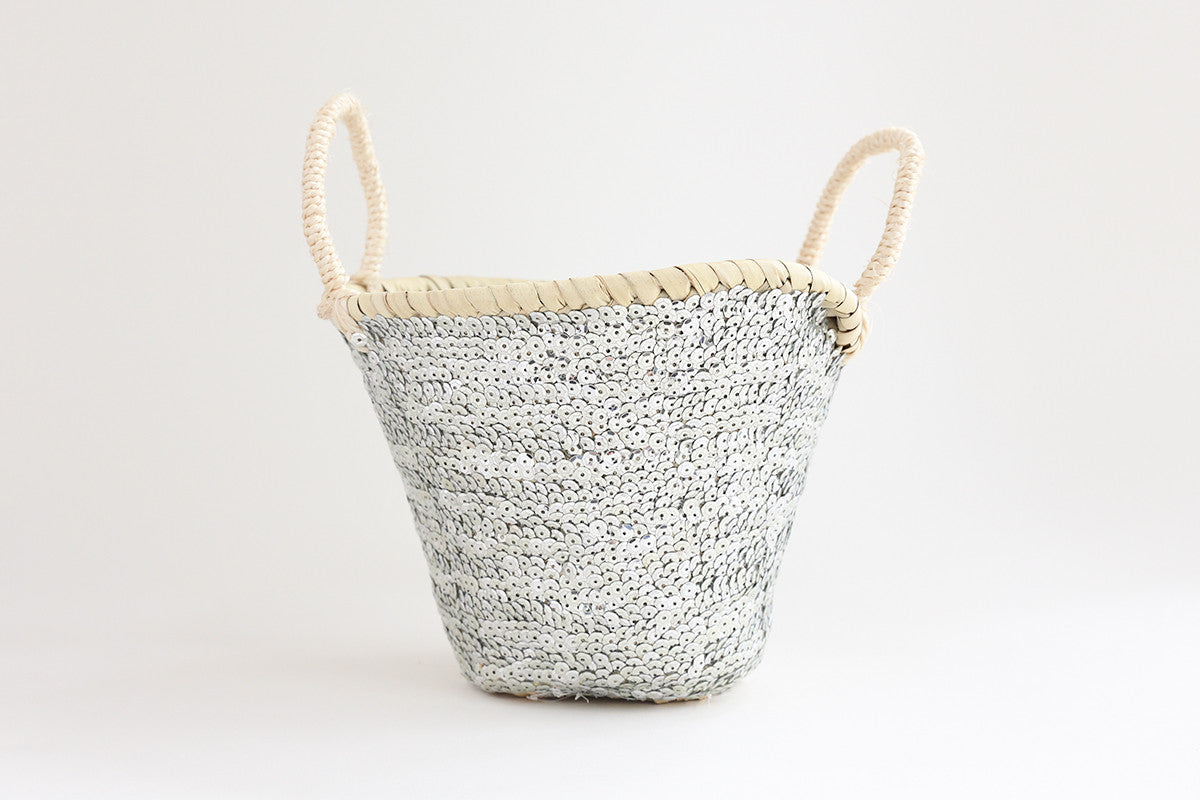 Silver Sequin Basket