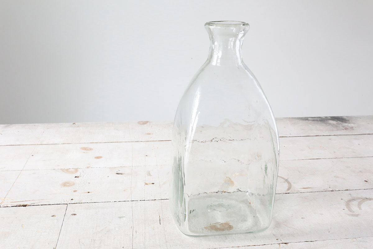 Large Square Glass Bottle