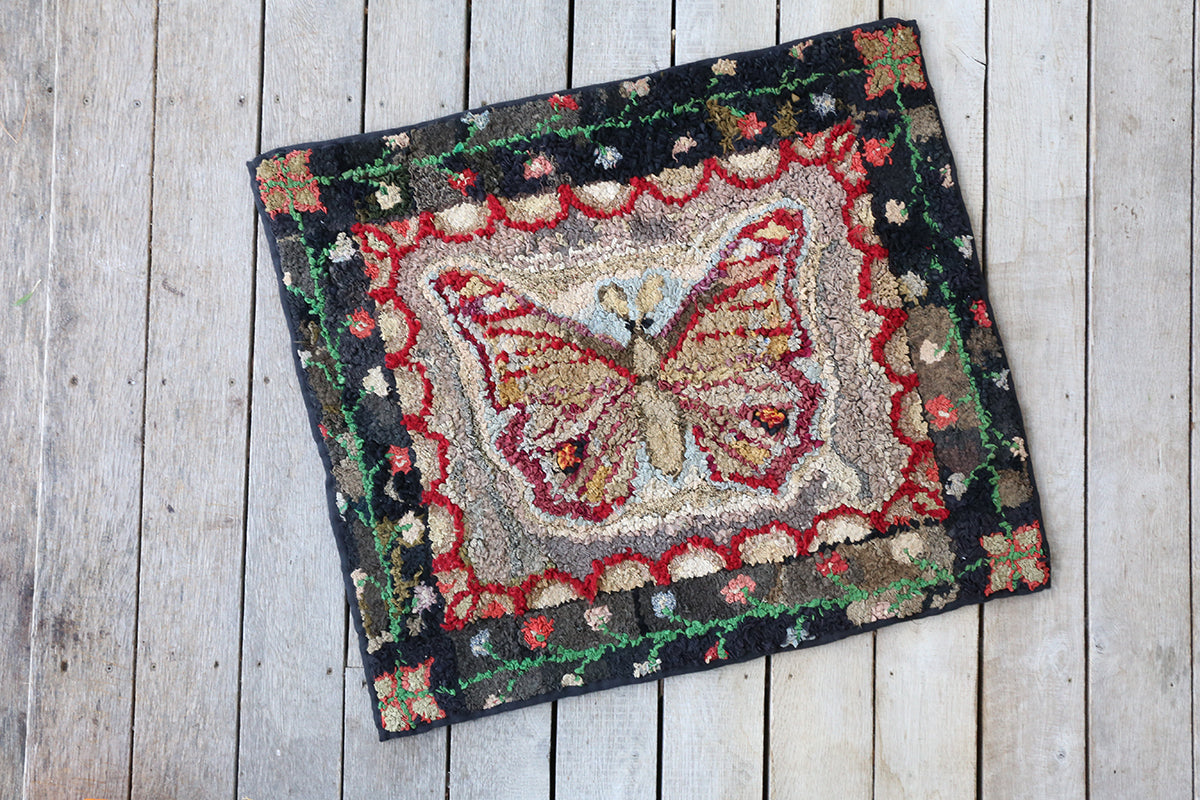 Victorian Butterfly Hooked Rug