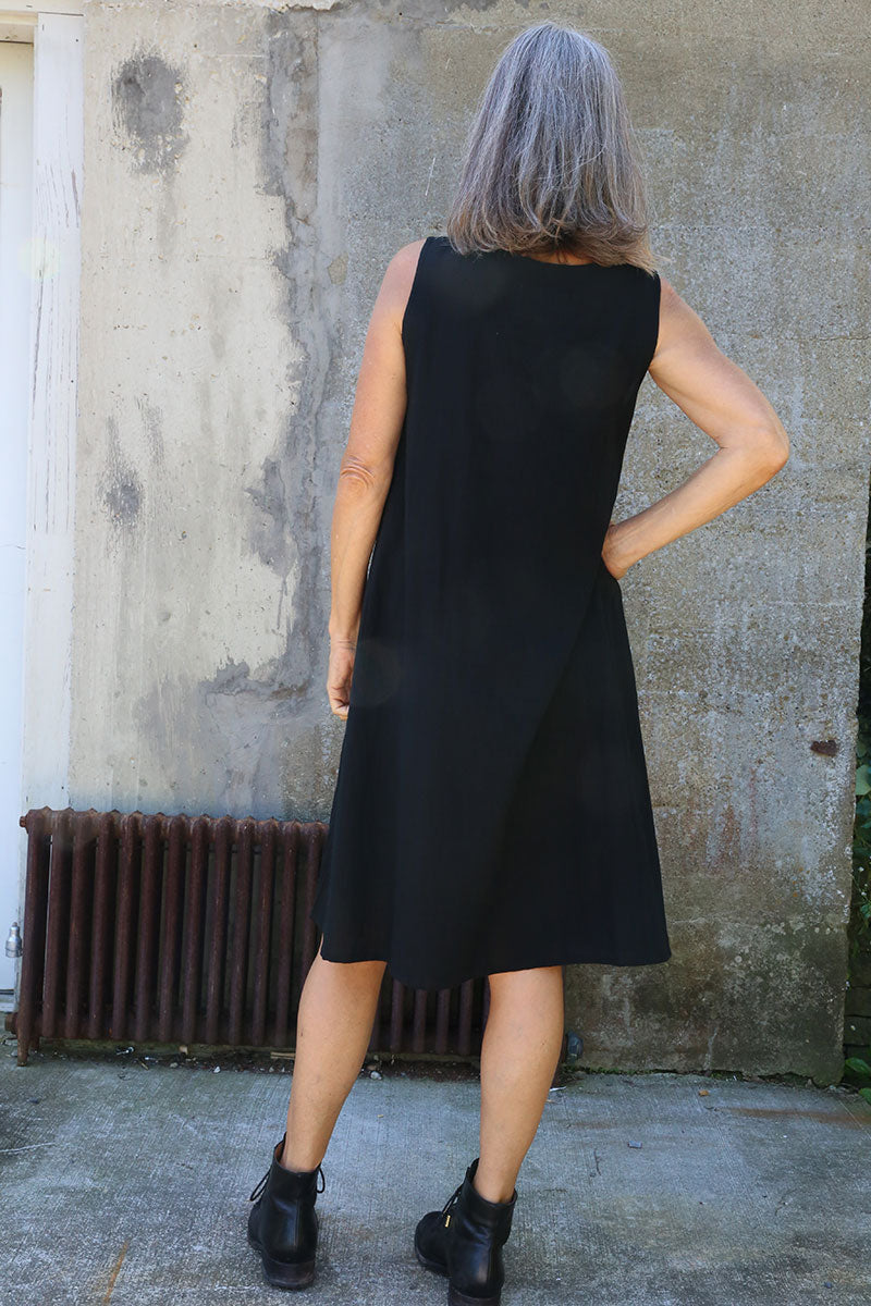 Black Cotton Slip Dress