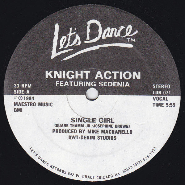 "Knight Action - Single Girl 12"" (Let's Dance Records)"