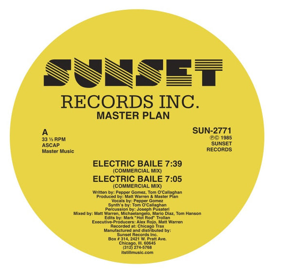 "Master Plan - Electric Baile - 12"" - Sunset Records Inc. (Warehouse Find!!)"