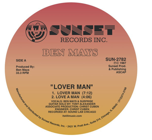 "Ben Mays - Lover Man / Jailbait - 12"" - Sunset Records Inc. (Warehouse Find!!)"