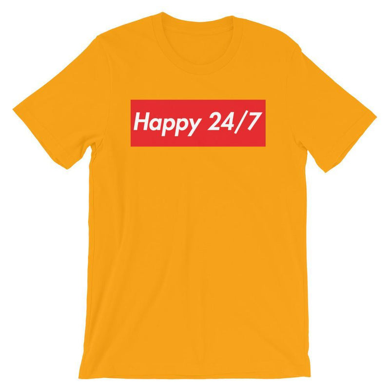 Repparel Happy 24/7 Gold / S Hypebeast Streetwear Eco-Friendly Full Cotton T-Shirt