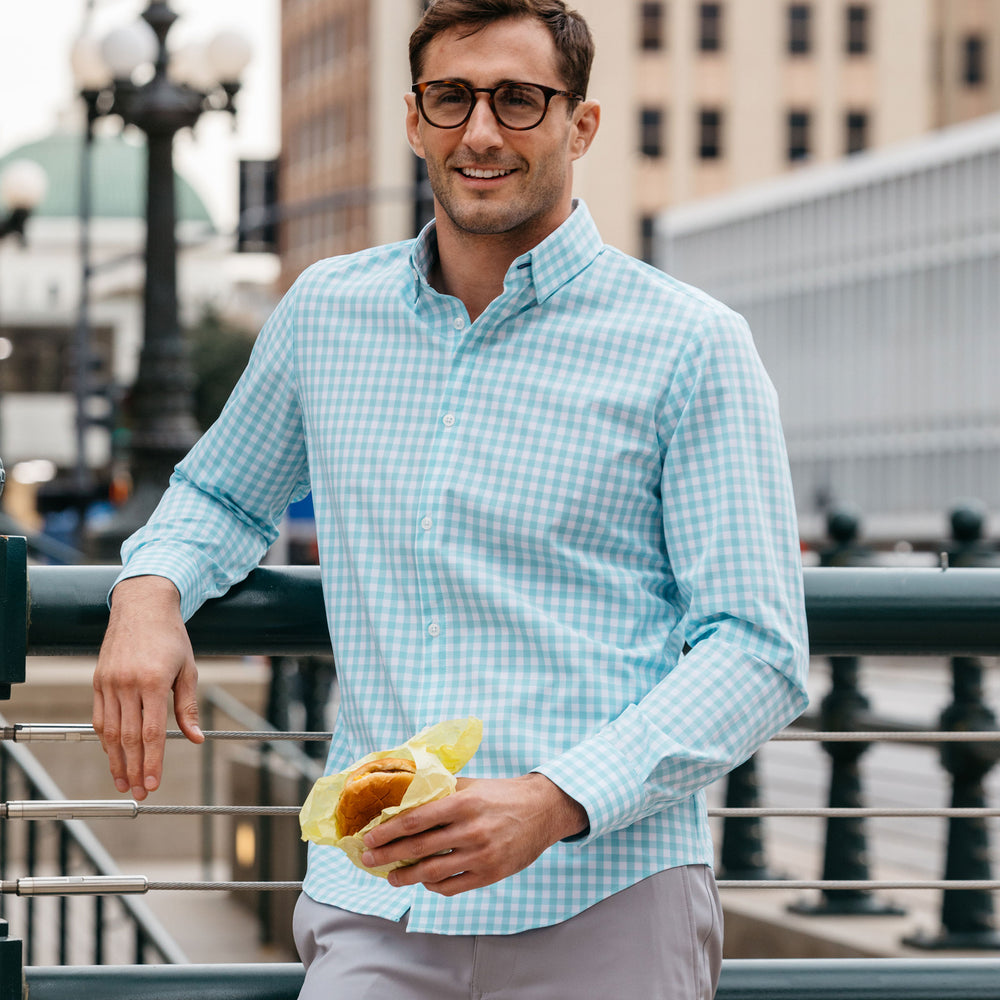Leeward Dress Shirt - Aqua Gingham, lifestyle/model photo