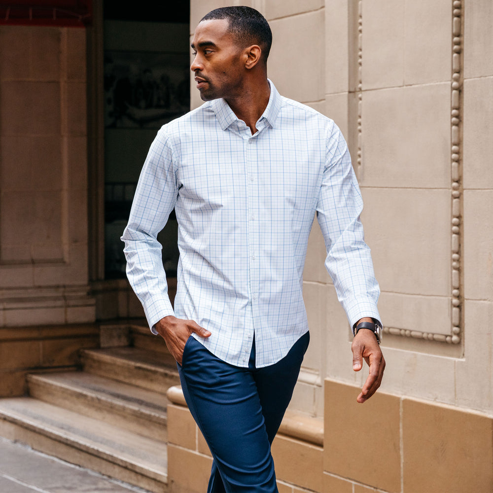 Leeward Dress Shirt - Aqua Blue Tattersall, lifestyle/model photo