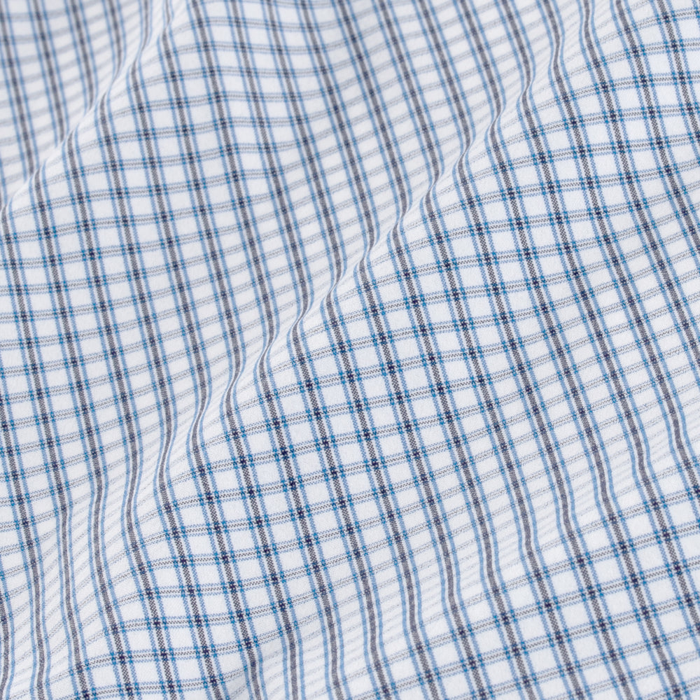 Leeward - White Blue Mini Check, fabric swatch closeup