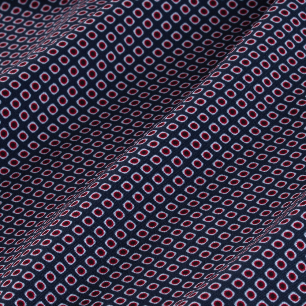 Alderson - Navy Red Dot Diamond, fabric swatch closeup