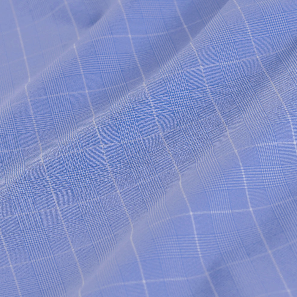 Leeward - Blue Chambray Plaid, fabric swatch closeup