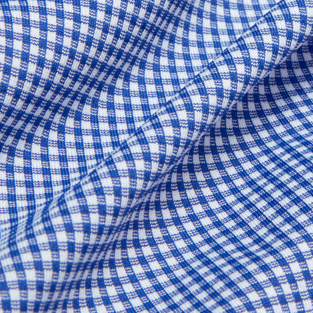Beckett - SS Blue Gingham, fabric swatch closeup