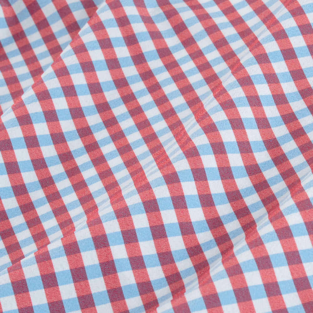 Bishop - Red White Blue Check, fabric swatch closeup