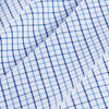 Leeward Dress Shirt - Light Blue Navy Tattersall, fabric swatch closeup