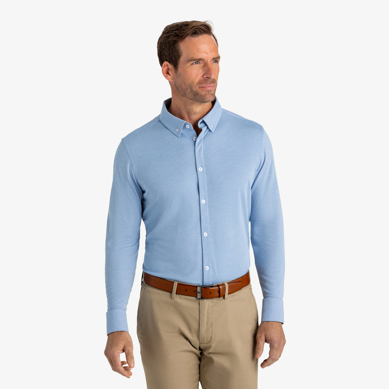 Cunningham Dress Shirt - Light Blue Heather, lifestyle/model