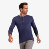 Henley - Heathered Navy Blue Henley, lifestyle/model photo