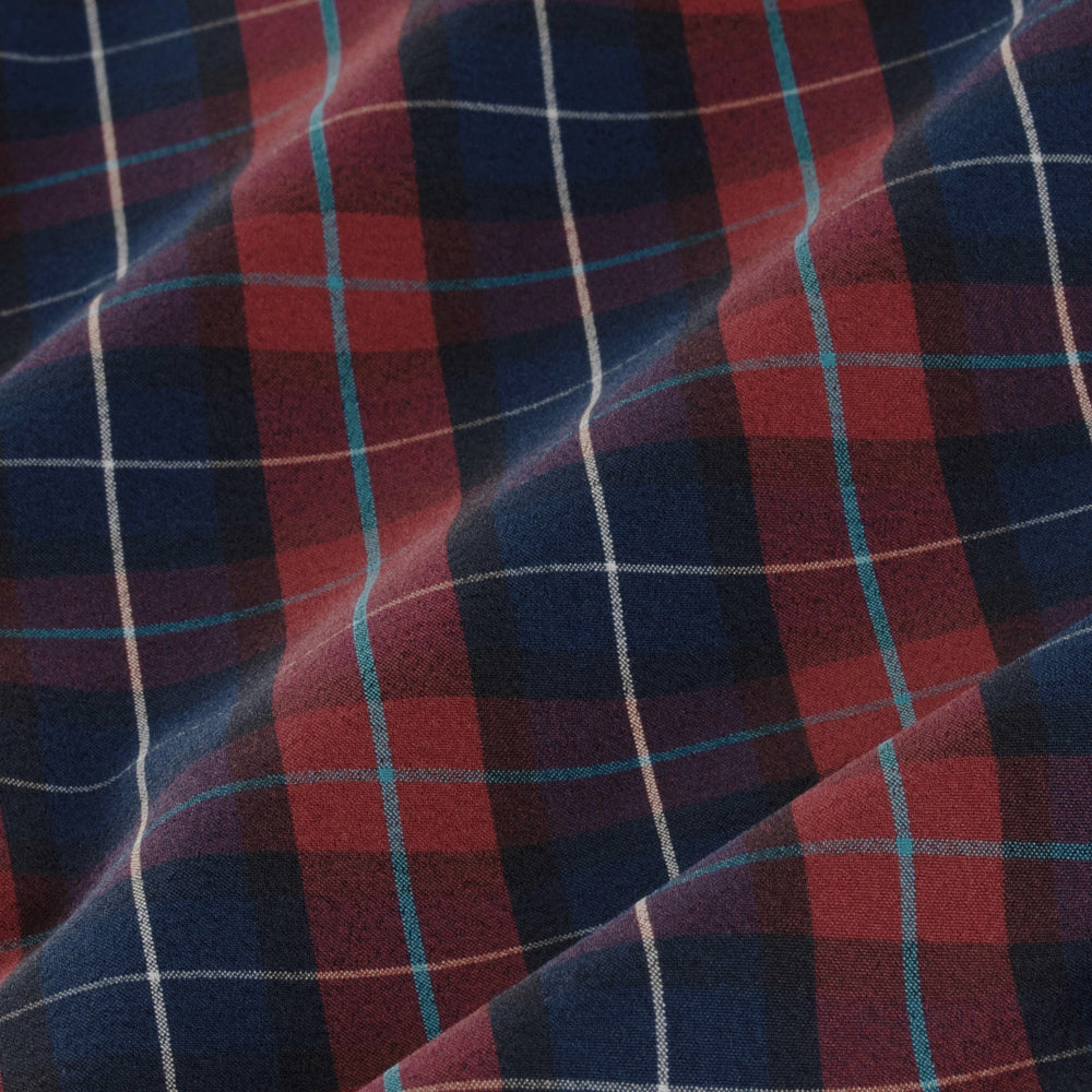Leeward - Navy Red Multi Plaid, fabric swatch closeup
