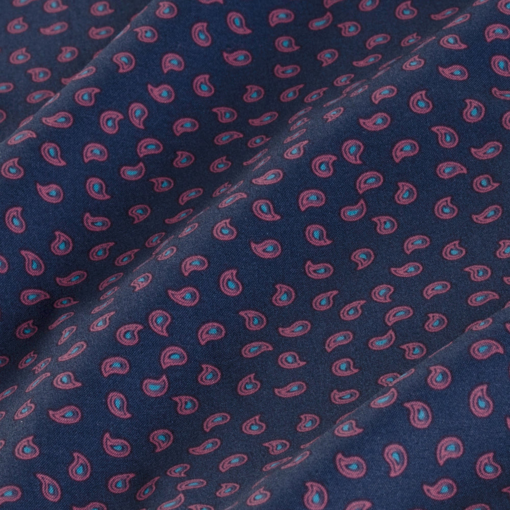 Leeward - Navy Paisley Print, fabric swatch closeup