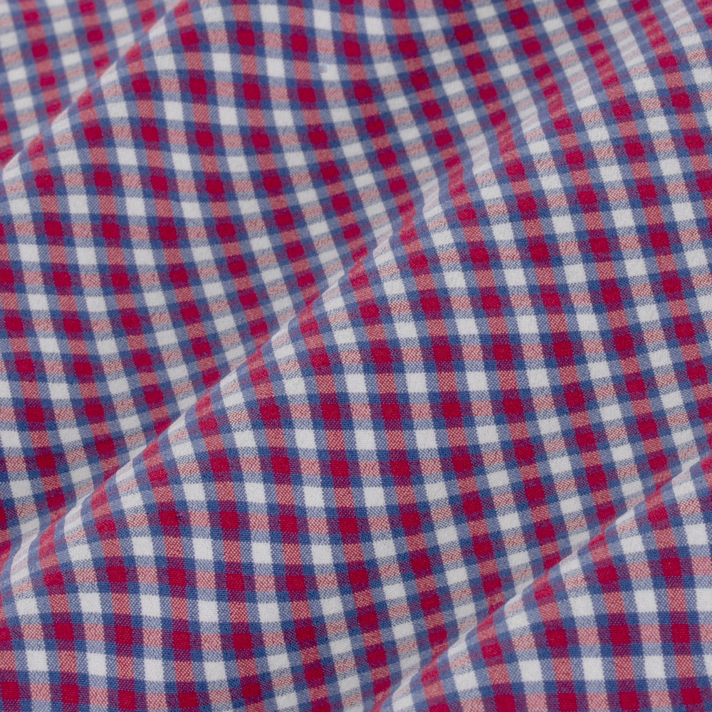 Holden - Red Blue Mini Check, fabric swatch closeup