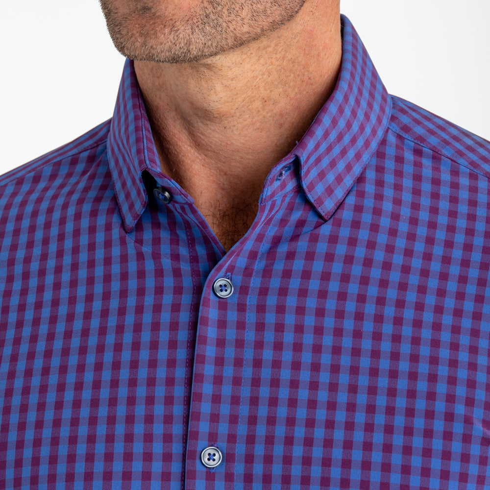 Holmes - Blue Burgundy Mutli Gingham, lifestyle/model photo
