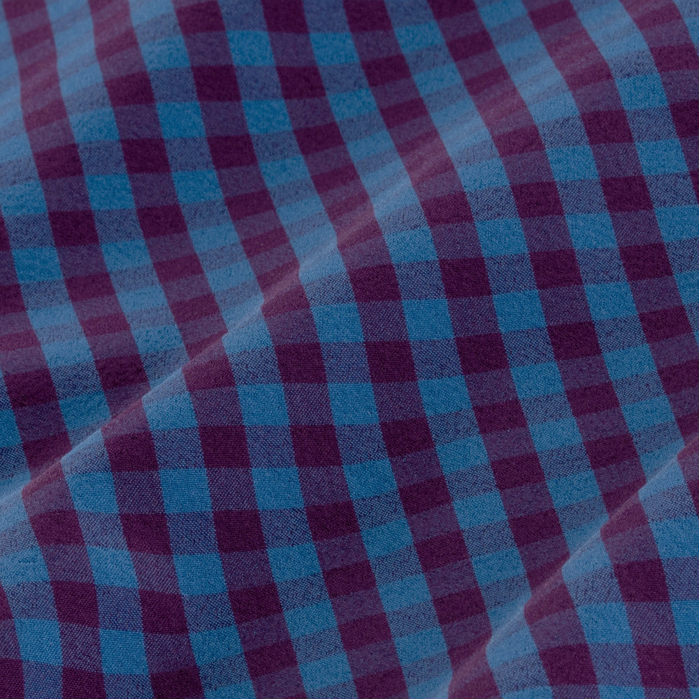Holmes - Blue Burgundy Mutli Gingham, fabric swatch closeup