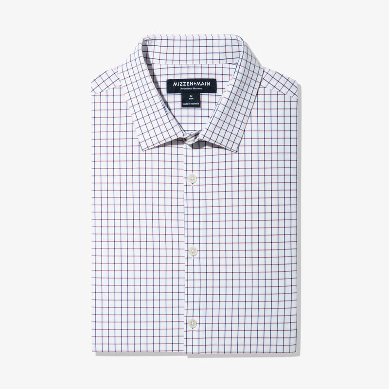 Leeward Dress Shirt - Red Navy Check, featured product shot
