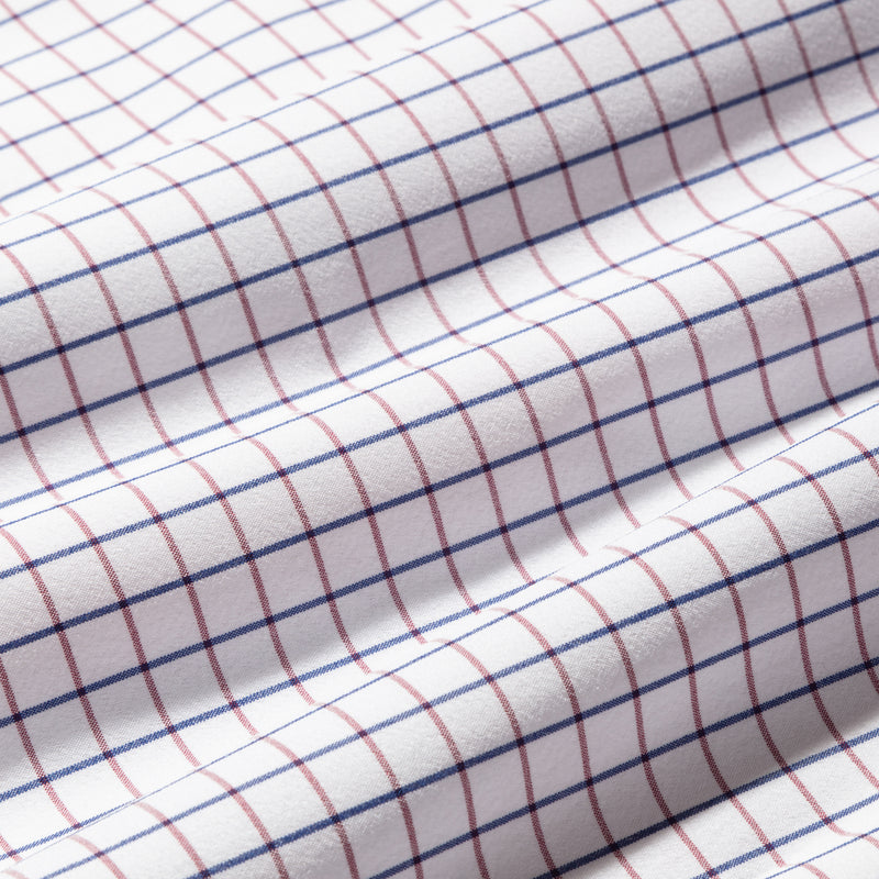 Leeward Dress Shirt - Red Navy Check, fabric swatch closeup