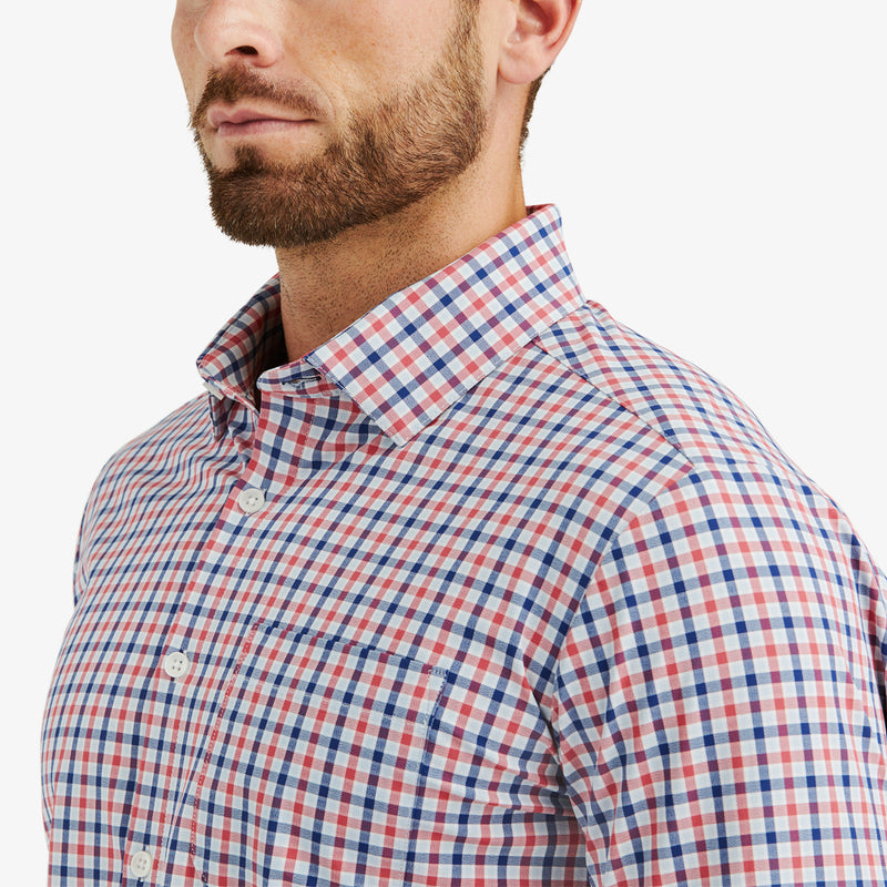 Leeward Casual Dress Shirt - Red Blue Multi Check, lifestyle/model