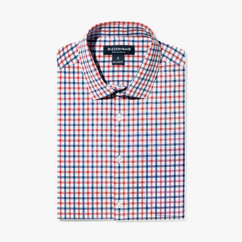 Leeward Casual Dress Shirt - Red Blue Multi Check, featured product shot