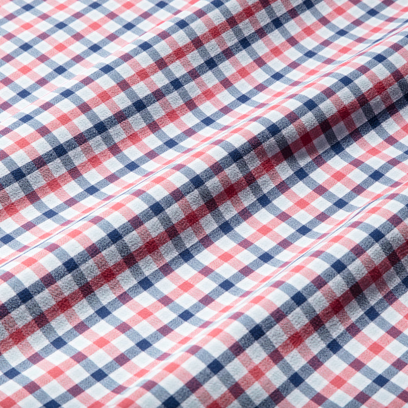Leeward Casual Dress Shirt - Red Blue Multi Check, fabric swatch closeup