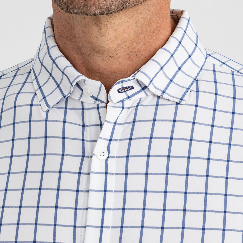 Leeward Dress Shirt - Dark Blue Windowpane, lifestyle/model photo