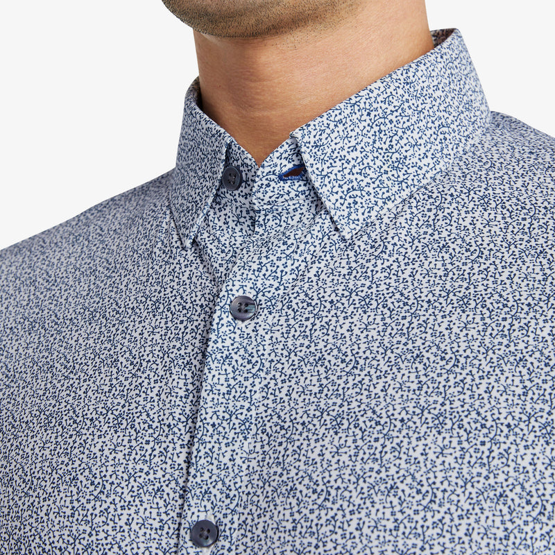 Leeward Dress Shirt - Navy Floral Print, lifestyle/model