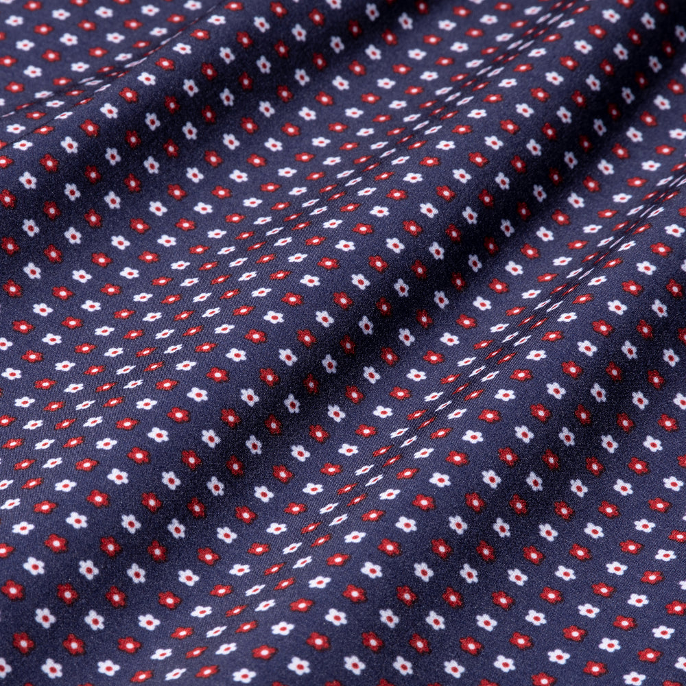 Pocket Square - Navy Red Floral Print, fabric swatch closeup