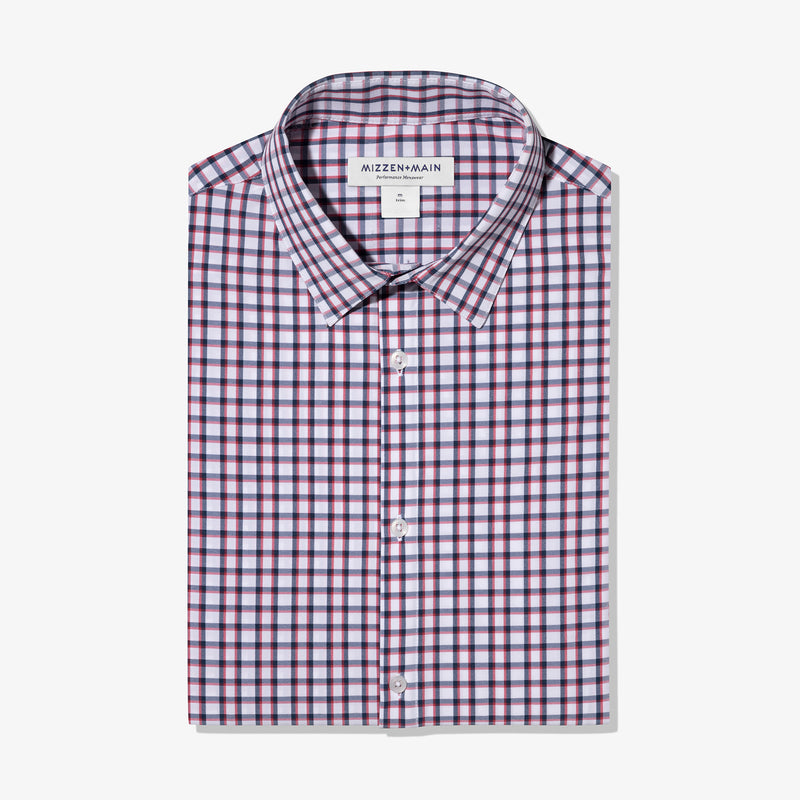 Leeward Dress Shirt - Navy Red Check, featured product shot