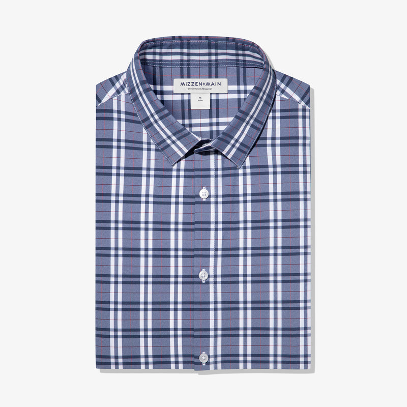 Leeward Dress Shirt - Navy Red Multi Plaid, featured product shot
