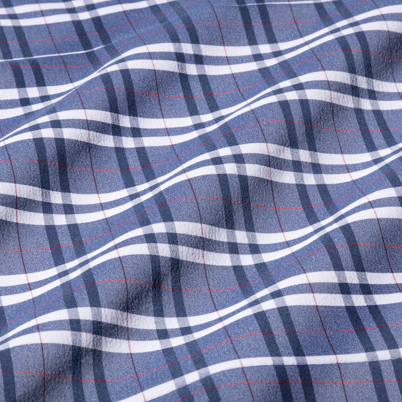Leeward Dress Shirt - Navy Red Multi Plaid, fabric swatch closeup