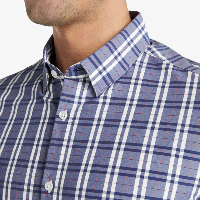 Leeward Dress Shirt - Navy Red Multi Plaid, lifestyle/model