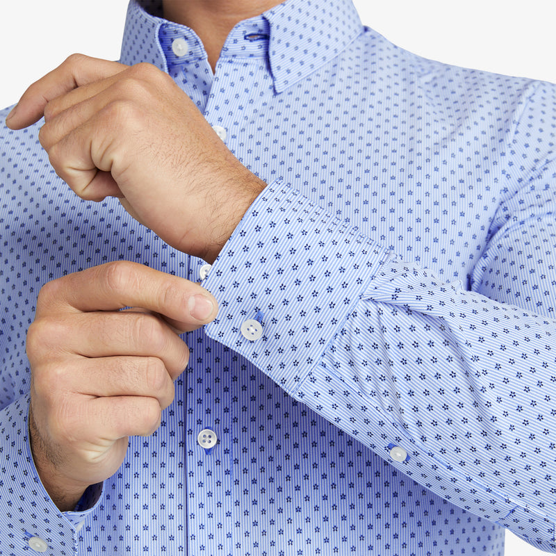 Leeward Dress Shirt - Floral Stripe Print, lifestyle/model