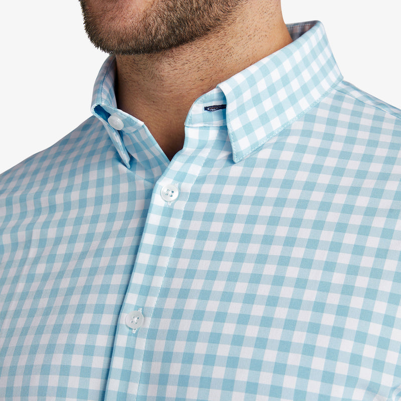 Leeward Dress Shirt - Aqua Gingham, lifestyle/model