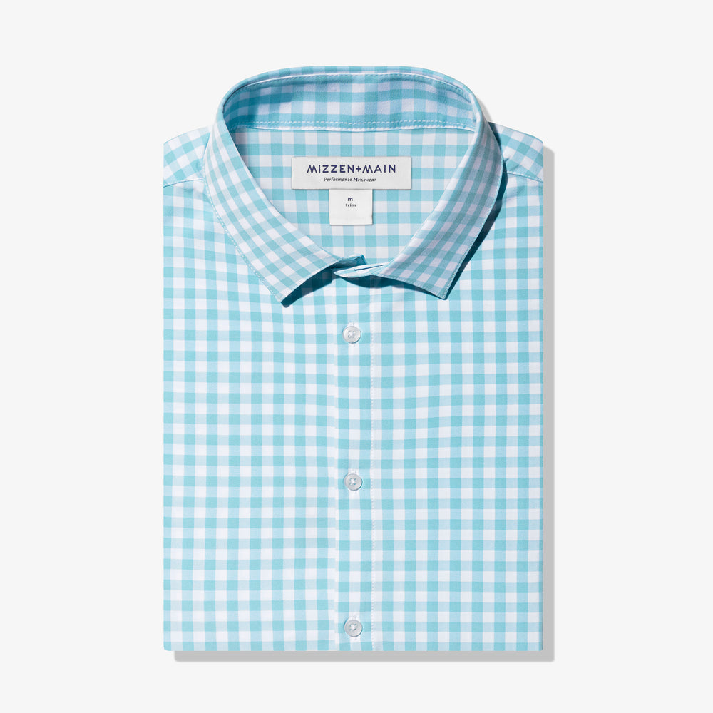 Leeward Dress Shirt - Aqua Gingham, featured product shot