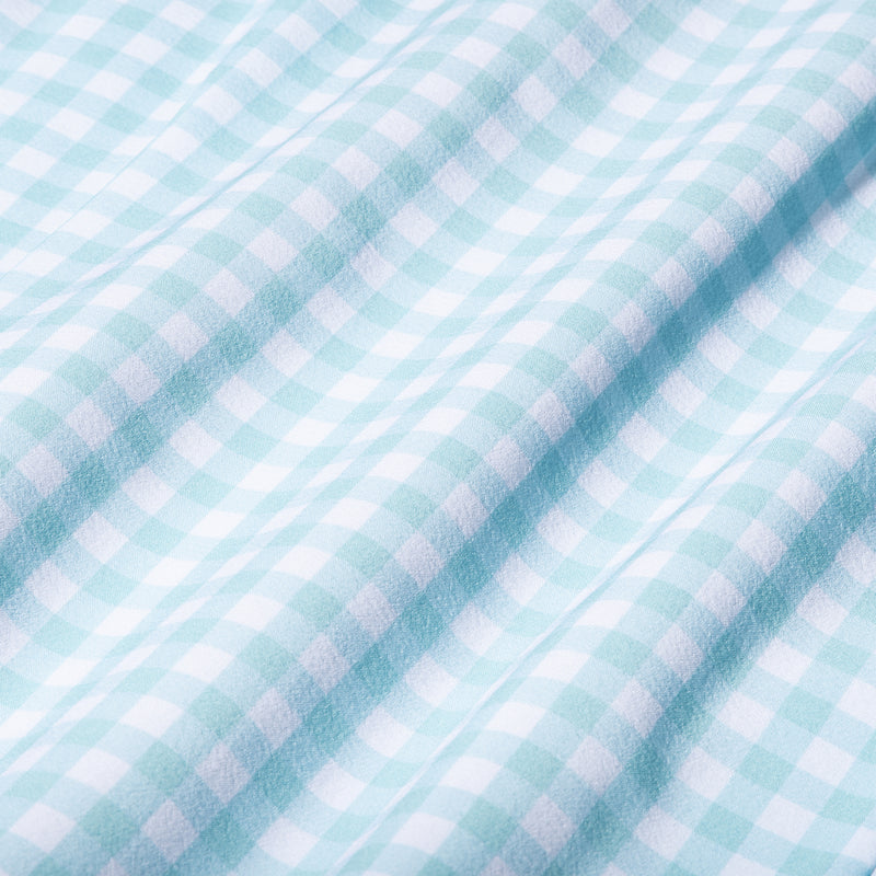 Leeward Dress Shirt - Aqua Gingham, fabric swatch closeup