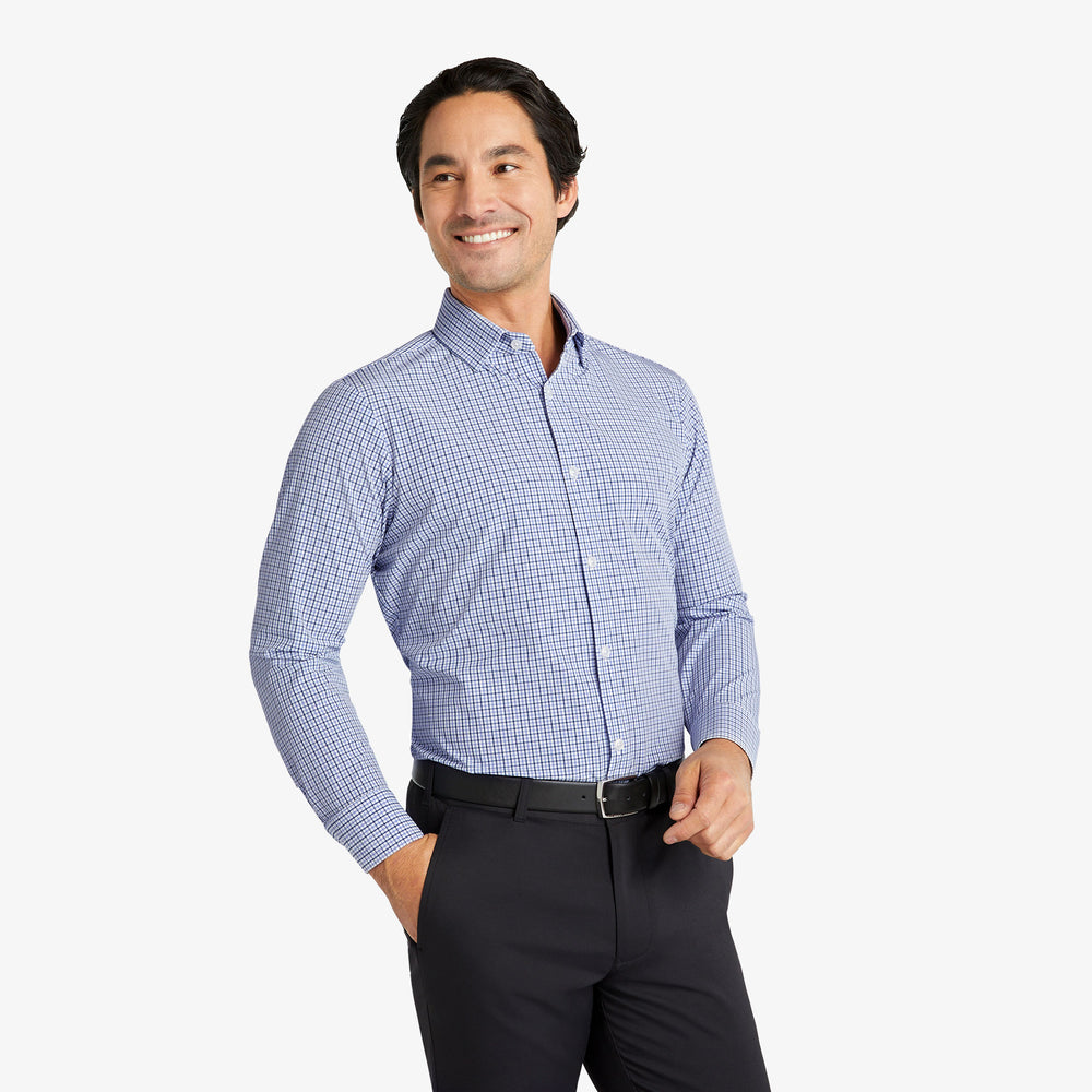 Leeward Dress Shirt - Navy Purple Check, lifestyle/model photo