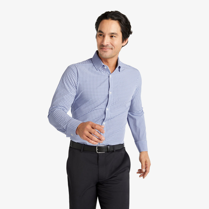 Leeward Dress Shirt - Navy Purple Check, lifestyle/model