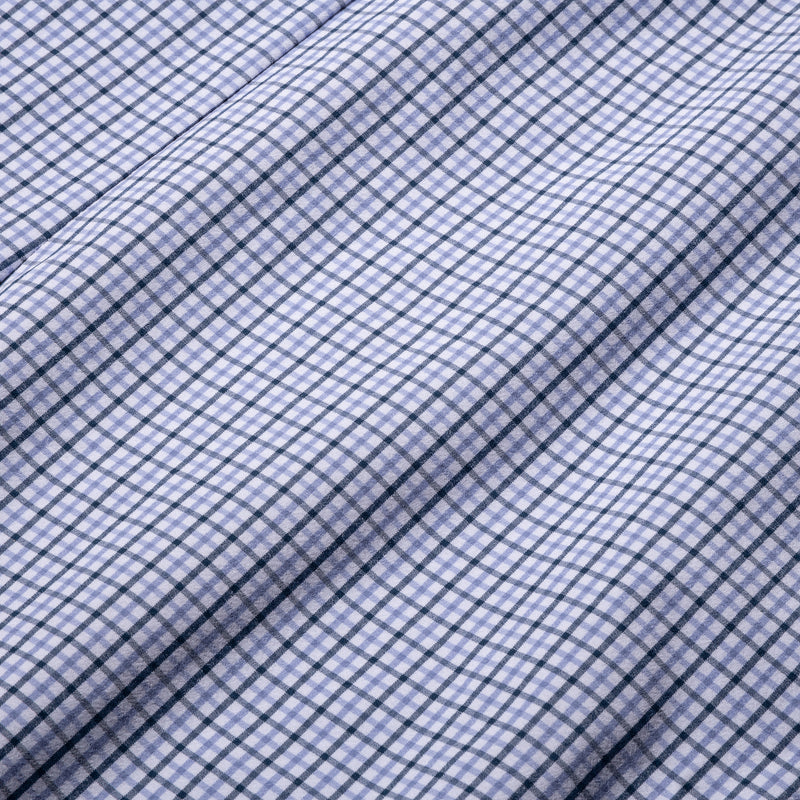 Leeward Dress Shirt - Navy Purple Check, fabric swatch closeup